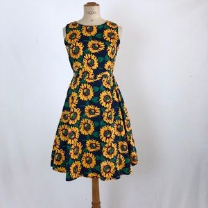 Sunflower midi print dress flared size:L CRFS